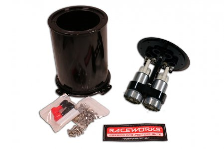 Raceworks 2.8 litre twin pump surge tank kit with Walbro 460 Pumps